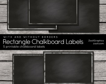 "Rectangle Chalkboard Labels With And Without Borders, 2""x3"", Printable, 5 png Labels, 1 PDF, INSTANT DOWNLOAD"