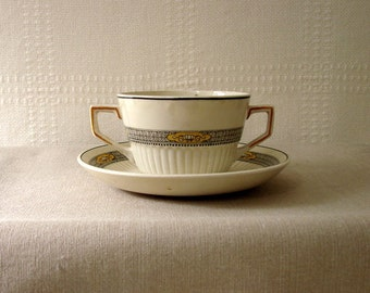 Ridgways Handled Cream Soup Cupt with Saucer, The Meaford Pattern