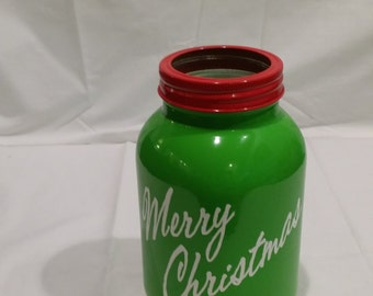 Merry Christmas Vase or Candle Holder