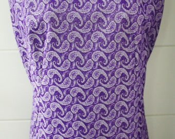 SALE Authentic 1960's lurex Paisley pattern straight line sleeveless formal maxi gown size 16