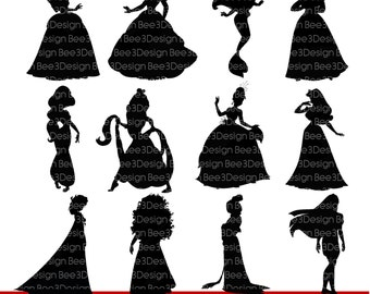 Princess Silhouettes, Princess Clipart, Digital Download, Disney Inspired