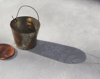 Miniature Victorian tin bucket (1:12 scale)