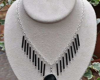 Silver and Black Pendant Necklace and Earring Set