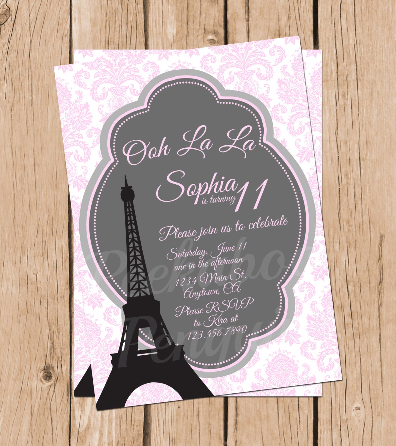 Tween Birthday Invitations Paris Invitations Teen Birthday