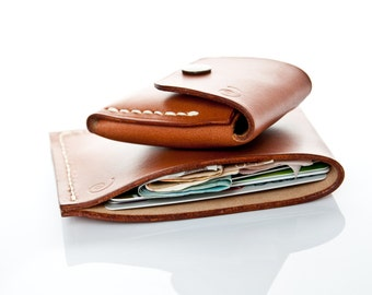 Minimalist Wallet and Small Coin Pouch in Beech Nut,Leather Coin Purse, Minimal Leather Wallet,Mens Coin Purse,Men