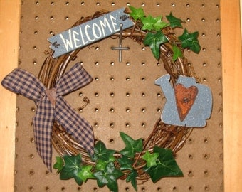 Grapevine Welcome Wreath with Watering Can