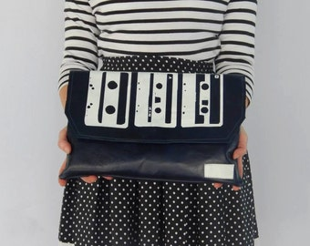 leather handmade cassettes print clutch