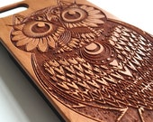 Owl real wood engraved iPhone 6 case, iPhone 5s case, iPhone 5C case, iPhone 4s case S051