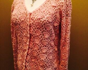 Vintage 1970's Pink Chrochet Sweater by Gloria Knitwear
