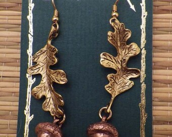 24K Gold Plated Oak Leaf Earrings