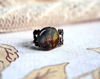 Golden nebula, space nebula galaxy adjustable ring, antique silver or antique bronze. Choose your finish