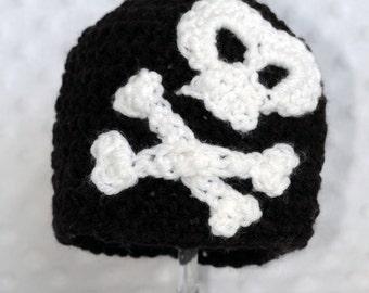 Crochet Skull and Crossbones Beanie, Baby Hat, Photo Prop, Handmade