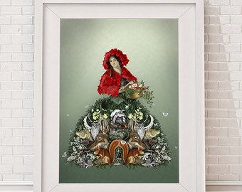 Red Riding Hood, Limited Edition Giclee print  Fairy tale print wolf print wolf illustration art print wall art wall decor wall hanging
