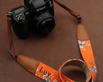 Personalized camera strap. Folk style bohemian flowers camera strap for Nikon Canon. Custom name DSLR camera strap for Photographers-C11