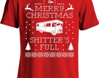 Merry Christmas Shitter's Full T Shirt Christmas Vacation Shirt Ugly Christmas Sweater Shirt Xmas Holiday Season Mens Youth Tee MD-258