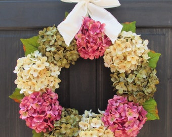 Spring Wreath for Front Door, Wreath for Spring, Hydrangea Wreath, Summer Wreath, Spring Summer Wreath, Summer Hydrangea Wreath for Door