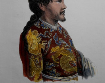 1845 Mongol Tartar Chief, Tatarischerchef, from Nadeshda Bay (Sakhalin). Schinz/Honegger Lithograph. Original and Scarce