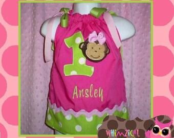 Pink Monkey Birthday Dress -  Sweet Mod Monkey birthday Party Dress - Girl's birthday Pillowcase Dress - Mod Monkey