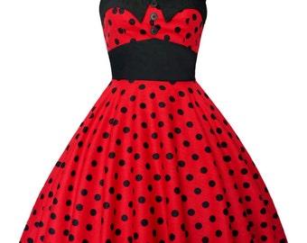 Rockabilly Dress Sun Summer Dress Pin Up Dress Red Polka Dot Plus Size Dress Retro Dress Gothic Steampunk Swing Disney Dress Party Dress