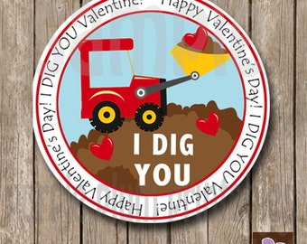 Instant Download - Valentine Tractor  - I Dig You Classroom Valentine Tags  - Print at Home