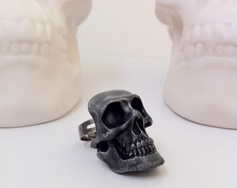 Skull Ring Gothic Jewelry Edgar Allan Poe Masque Of The Red Death Horror Statement Pewter Painted