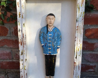 Framed Wooden Carved Painted Chinese Man Sculptural Wall Art
