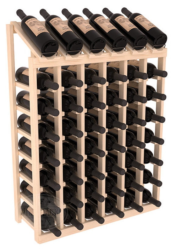 Handmade wooden 48 bottle display view wine rack kit in - Wine bottle storage angle ...