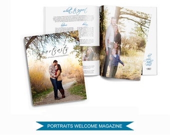 Photography Magazine Template for Photographers - 16 Page Welcome Guide - PSD Files - Digital Price List - Pricing Templates - M001