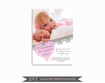 Valentine's Day Mini Session Marketing Board - Template for Photographers - Digital Photoshop Template - 5x7 Photography Design - VDMS01