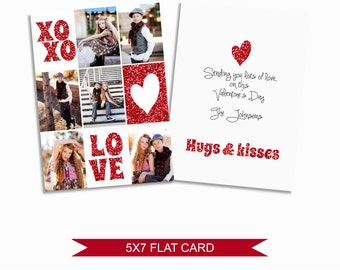Valentine's Day Card Template with Red Glitter - 5x7 Digital Photography Photoshop Files - Template for Photographers - VDC05