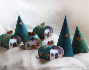 Christmas Favor boxes (Printable) - Party favors & centerpiece - Christmas village, set of 4 cute houses + 3 trees with hearts - DIY