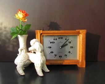 SALE Vintage teak wood table clock, mantel clock / JUNGHANS | Germany | 60s