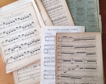 Antique and vintage sheet music ephemera late 1800's through 1950's mix of 24 sheets plus