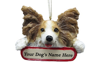 Papillon Ornament With Personalized Name Plate A Great Gift For Papillon Lovers
