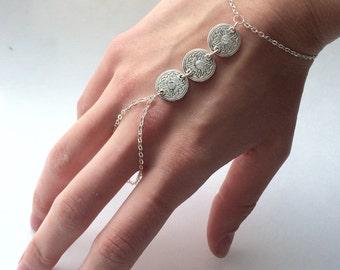 Tribal Hand Chain Bohemian Slave Bracelet Boho Hand Chain Tribal Hand Jewelry Rhinestone Hand Chain Bohemian Jewelry Bohemian Bracelet