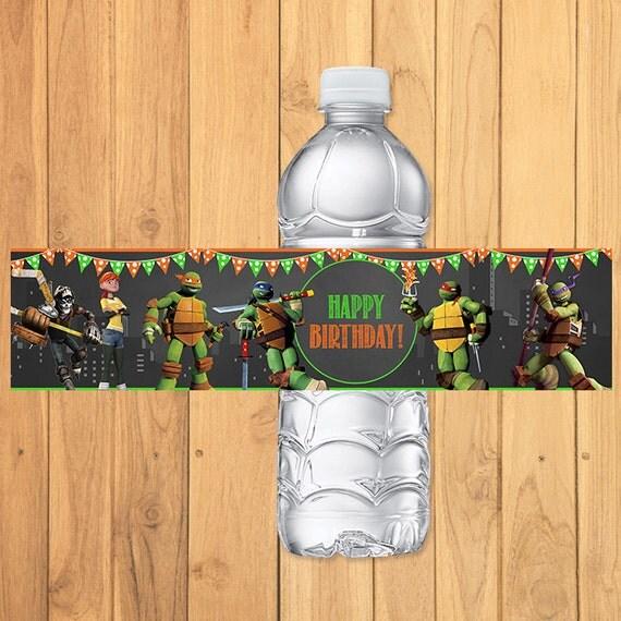 Teenage Mutant Ninja Turtles Drink Labels Chalkboard *TMNT Water Bottle * TMNT Birthday Printable * Teenage Mutant Ninja Turtles Party Favor