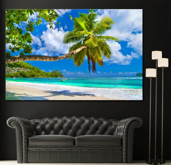 tropical beach palm tree sky ocean wall art canvas giclee. Black Bedroom Furniture Sets. Home Design Ideas
