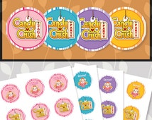 Candy Crush Cupcake Toppers 4 Color Combo Pack // Candy Crush Stickers // Candy Crush Party // Candy Crush Birthday