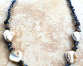 Stone and Wood Beads Necklace, Rustic Jewelry, Boho Necklace, Earthy, Bohemian Jewelry, Natural, Blue, Beaded Necklace