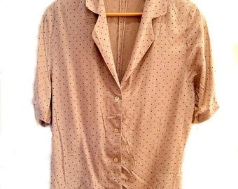 Vintage 80s button up shirt blouse 1980s polka dots