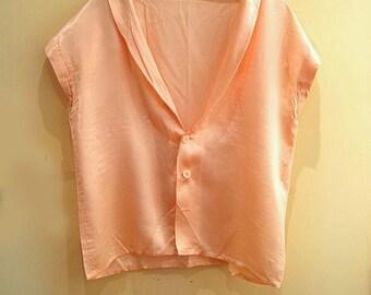 Vintage 80s cropped satin shirt blouse 1980s