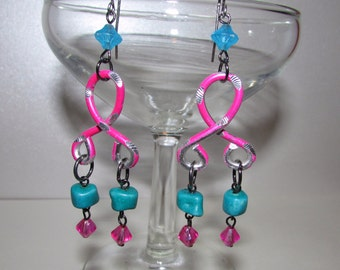 Barbie Girl Teal and Hot Pink Chandelier Earrings, Eco Friendly, OOAK, Upcycled Wire, Vintage Beads, Neon, Colorful Jewelry, Boho Chic, Pink