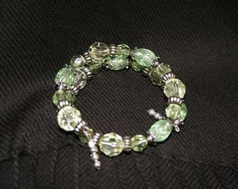 Bead and Silver Tone Bracelet
