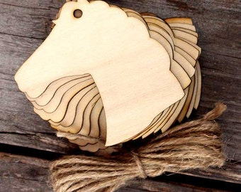 10x Wooden Plain Horse Head Craft Shape 3mm Ply