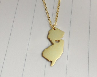 New Jersey State Charm Necklace,NJ State Necklace,Gold New Jersey State Necklace,State Shaped Necklace  With A Heart
