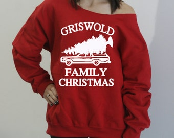 Griswold Family Christmas. Slouchy oversized sweatshirt. Off the shoulder holiday sweater. Christmas Vacation Sweater. Funny Holiday Sweater