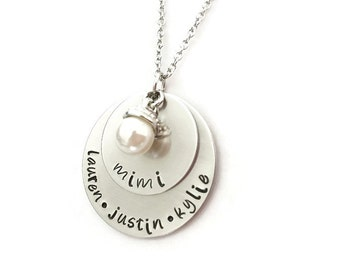 mother necklace   grandma necklace   personalized hand stamped necklace with names of loved ones and pearl