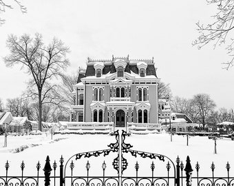 Historic Homes, Silas W Robbins House, Historic Wethersfield CT Black and White Winter