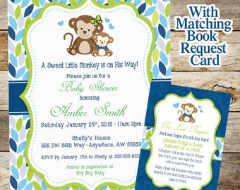 Monkey Baby Shower Invitation, Baby Shower Invitation, Baby Shower Boy Monkey Invitation, Monkey Book Request Card