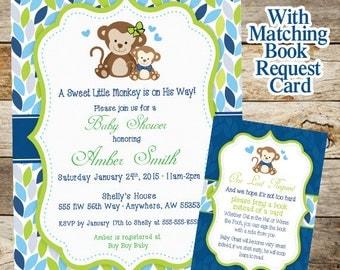 Monkey Baby Shower Invitation, Baby Shower Invitation, Baby Shower Boy Monkey Invite, Monkey Book Request Card, Printable
